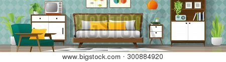 Vintage Interior Background With Mid Century Modern Bedroom , Vector , Illustration