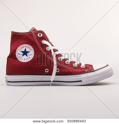 Vienna, Austria - August 30, 2017: Converse Chuck Taylor All Star High Red Sneaker On White Backgrou