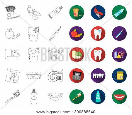 Dental Care Outline, Flat Icons In Set Collection For Design. Care Of Teeth Vector Symbol Stock Web