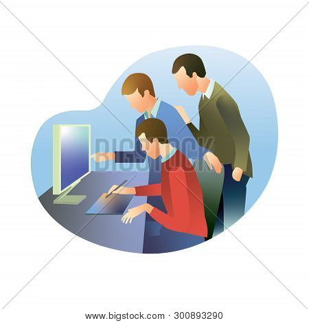 Three Employees Discuss Work On The Monitor