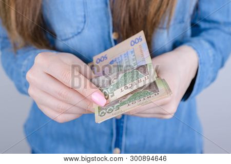 Cropped Closeup Photo Portrait Of Serious Wealthy Rich Lady Getting Large High Salary Wage Holding I