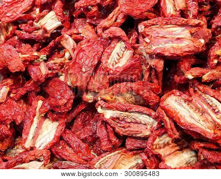 Background Of Red Sundried Tomatoes From Italy