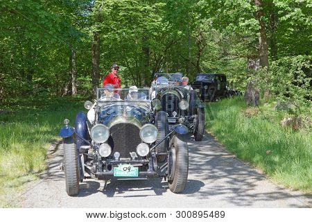 Stockholm, Sweden - May 20, 2018: Black Color Bently 3-litre Classic Car From 1923 Driving On A Coun