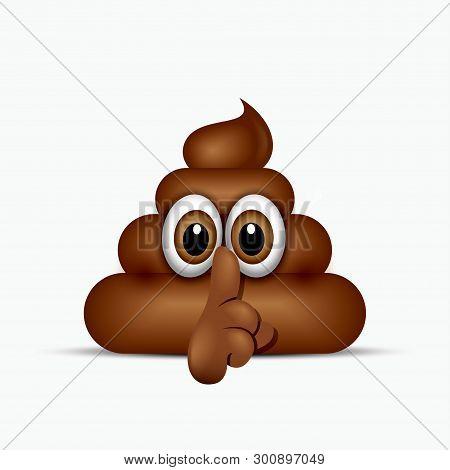 Be Quiet Poo Emoticon. Emoji Poop Face Vector Illustration
