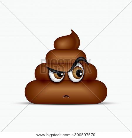 Curious Poo Emoticon, Emoji - Poop Face - Vector Illustration