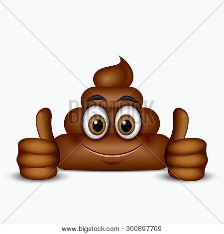 Poo Emoticon Holding Thumbs Up, Emoji - Poop Face - Vector Illustration