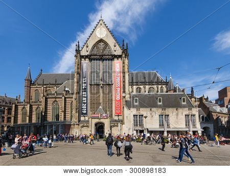 De Nieuwe Kerk, Dam Square Amsterdam, Netherlands - April 18, 2019: Exterior view to World Press Photo Exhibition 2019 on its world-wide tour showcasing photography from the 62nd annual World Press