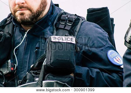 Paris France May 11, 2019 Close Up Of Hands Of French National Police In Intervention During Protest