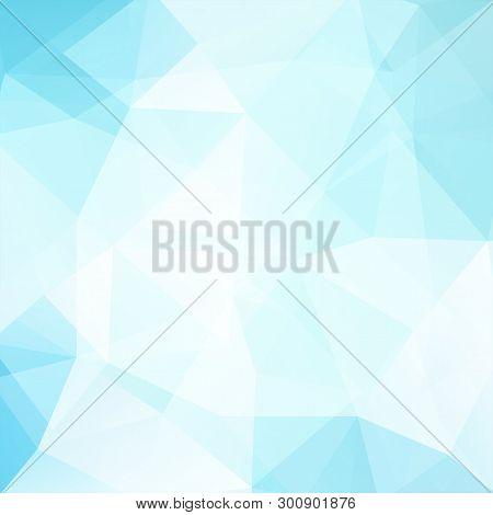 Background Of Blue, White Geometric Shapes. Light Mosaic Pattern. Vector Eps 10. Vector Illustration