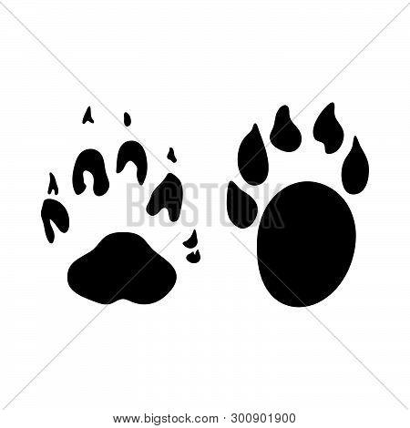 Marten Footprint. Black Silhouette Design. Vector Illustration.