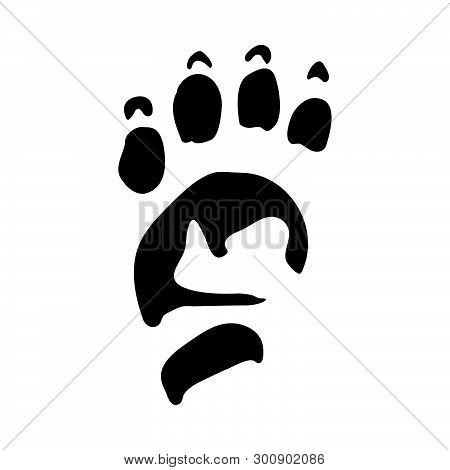 Porcupine Footprint. Black Silhouette Design. Vector Illustration.