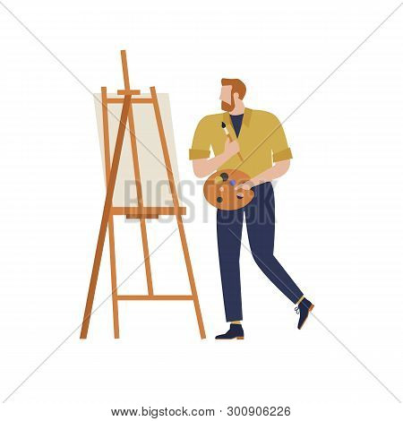 Cartoon Artist Vector Isolated Character In Creative Artistic Hobbies. People Hobby, Artistic Drawin