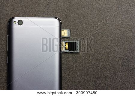 Adygea, Russia - January 3, 2018: Chinese Smartphone Xiaomi Redmi 5a Silver With Open Slots For Nano