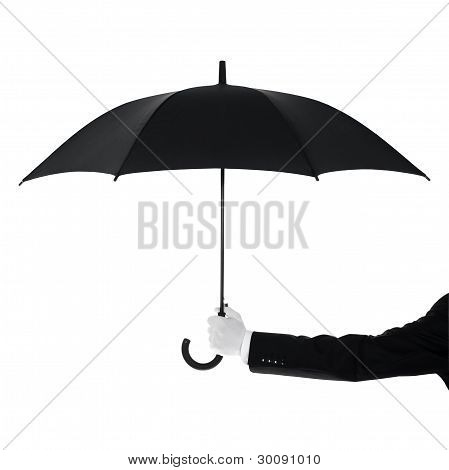 Butler holding an umbrella