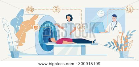 Ct Or Mri Diagnosis In Clinic Flat Banner Template. Hospital Human Brain Body Scan Machine For Patie