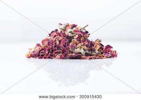 Rose Flower Dry Tea Isolated On A White Background, Close-up.