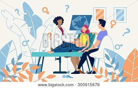 Ultrasound Cabinet Examination Pregnant Woman Sex Determination. Vector Flat Illustration Married Co