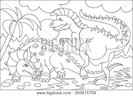 Black And White Page For Coloring. Fantasy Drawing Of Two Funny Dinosaurs. Worksheet For Children An