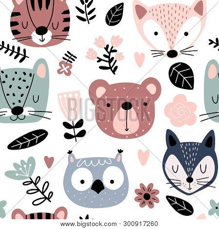 Eamless Pattern With Cute Animals And Flowers In Scandinavian Style. Animal Heads Cartoon Background
