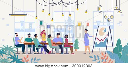Business Project Presentation, Company Financial Strategy Planning Flat Vector Concept With Female L