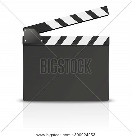 Vector 3d Realistic Blank Opened Movie Film Clap Board Icon Closeup Isolated On White Background. De