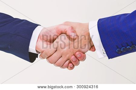Shaking Hands At Meeting. Friendly Handshake Gesture. Handshake After Signing Profitable Agreement.