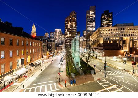 Boston Downtown cityscape with skylines building sunset at Boston city, MA, USA.