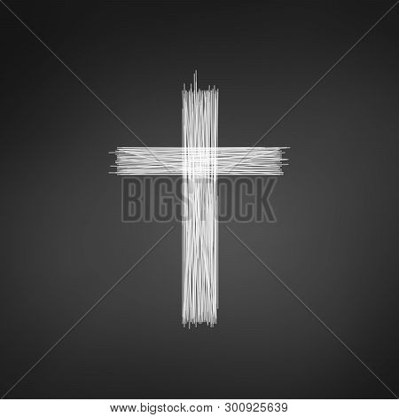 Hand Drawn Cross. Grunge Cross. Cross Made With Pencil. Line Cross. Vector Illustration Isolated On