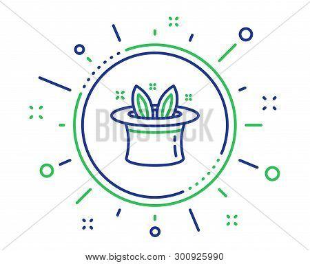 Hat-trick Line Icon. Magic Tricks With Hat And Rabbit Sign. Illusionist Show Symbol. Quality Design