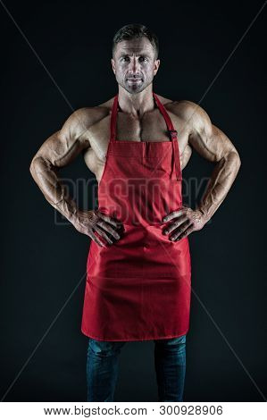 Sexy Man Cook. Man With Muscular Torso In Chef Apron. Cuisine. Male Housewife. Husband In Kitchen. B