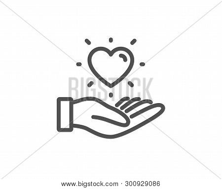 Hold Heart Line Icon. Friends Love Sign. Brand Ambassador Hand Symbol. Quality Design Element. Linea