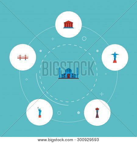 Set Of Landmarks Icons Flat Style Symbols With Golden Gate, Space Needle, Christ The Redeemer And Ot