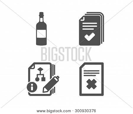 Set Of Handout, Algorithm And Brandy Bottle Icons. Delete File Sign. Documents Example, Project, Whi