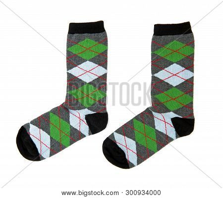 Two Socks Isolated On The White Background