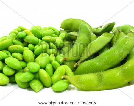 Edamame soy beans shelled and pods