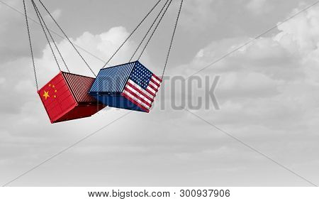 Usa China Trade War And American Tariffs As Two Opposing Cargo Freight Containers In Conflict As An