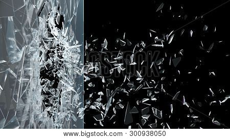 Abstract Broken Glass Into Pieces. Wall Of Glass Shatters Into Small Pieces. Place For Your Banner,