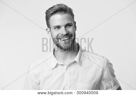 Dentistry Concept. Man Handsome Bearded Guy Smiling On White Background Isolated. Guy Cheerful Smile