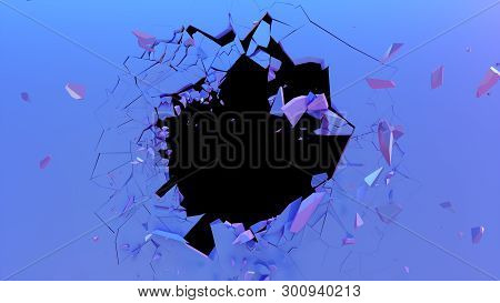 Broken Wall Dark Pastel-violet Color. Wall Shatters Into Thousands Of Small Pieces. Abstract Destroy