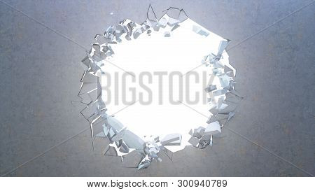 Broken Concrete Wall Into Small Pieces. Cracked Earth, Abstract Background With Volume Light Rays In