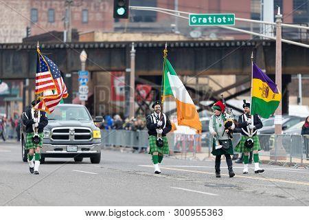 St. Louis, Missouri, Usa - March 2, 2019: Bud Light Grand Parade, Men Wearing Traditional Irish Clot