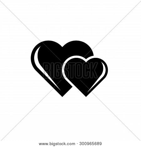 Big Heart And Little Heart Icon Isolated On White Background. Big Heart And Little Heart Icon Simple