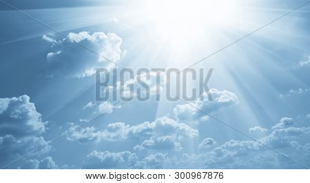 Sunny background, blue sky with white clouds, natural background.