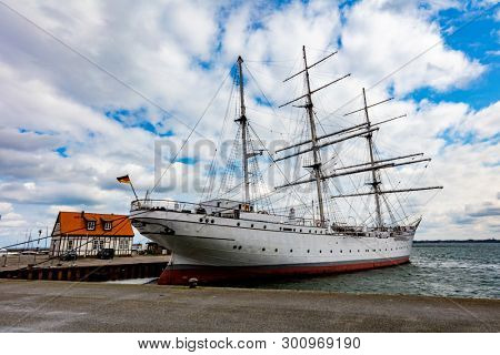 Stralsund, GERMANY - April 13th, 2019. Gorch Fock I - a German three-mast barque, the first of a series built as school ships for the German Reichsmarine in 1933