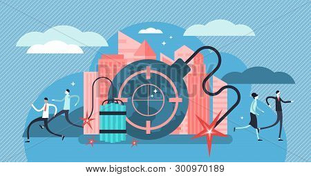 Terrorism Vector Illustration. Flat Tiny Danger Attack Threat Persons Concept. Violence Horror And F