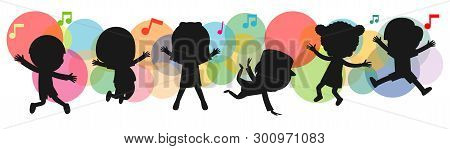 Kids Silhouettes Dancing, Child Dancing Break Dance. Children Silhouettes Jumping On Background Colo