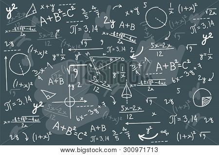 Math Chalkboard Vector Illustration. Physics Solving Equation Blackboard. Sketch With Geometrical Cl
