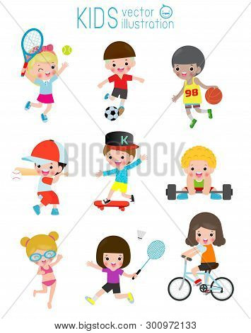 Kids And Sport, Kids Playing Various Sports, Cartoon Children Sports Football, Swimming, Baseball,te