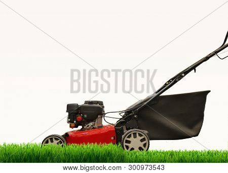 Lawn mower mows lawn. Is isolated. on a white background