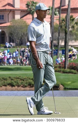 PONTE VEDRA BEACH, FL-MAR 14: Tiger Woods waits on the green during the first round of The PLAYERS Championship on The Stadium Course at TPC Sawgrass on March 14, 2019 in Ponte Vedra Beach, Florida.